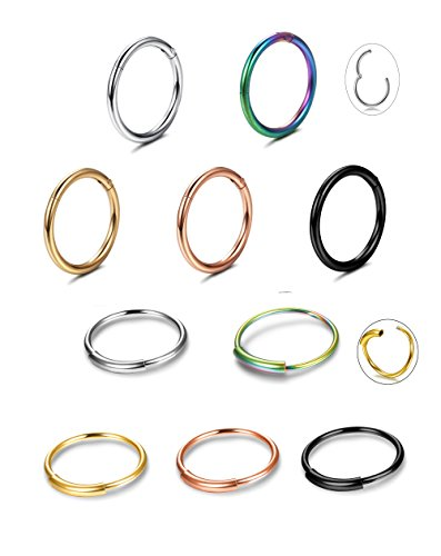 Jstyle 10Pcs 16-20G Stainless Steel Nose Rings Hoop Cartilage Helix Piercing Body Jewelry 8mm 10mm 12mm (Ring Nose Seamless 18g)