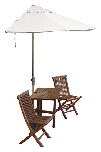 Blue Star Group Terrace Mates Villa Economy Table Set w/ 7.5'-Wide OFF-THE-WALL BRELLA - Natural Olefin - Olefin Wall Umbrella Natural