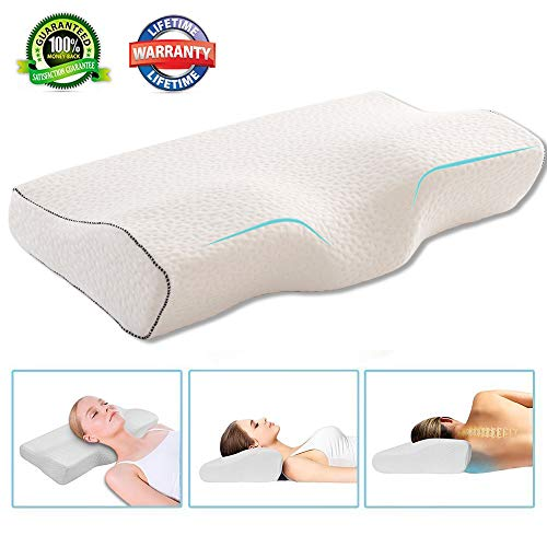 Rhyl Cervical Pillow for Neck Pain - 100% Cotton Protector Cover Orthopaedic Memory Foam Support Pillow - Free Pillowcase Included (Soft & Queen) (Neck Cervical Pillow)