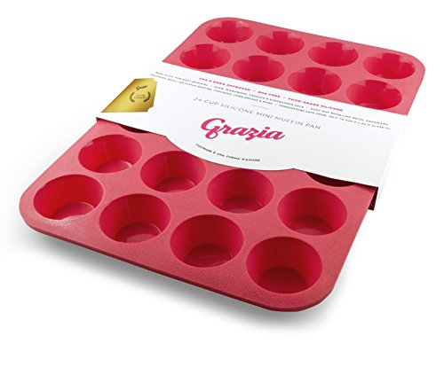 Grazia Silicone Muffin Pan, Red, 24-Cup