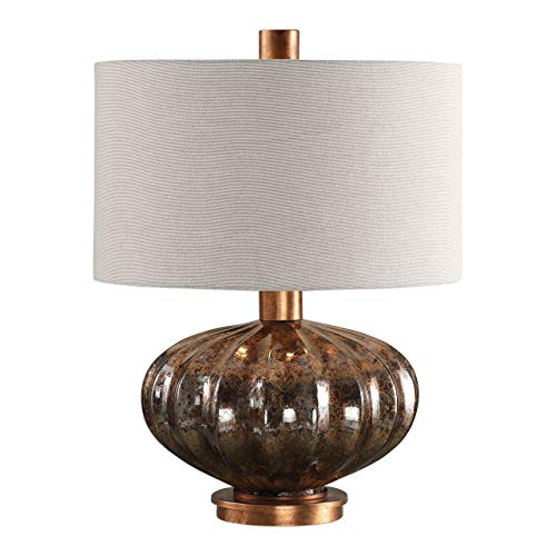 Uttermost 27780-1 Dragley - One Light Table Lamp, Burnished Copper Leaf Finish with Metallic Rust Bronze Mercury Glass with Light Gray Linen Fabric Shade