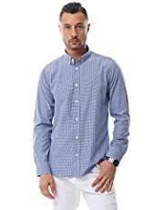 قميص قطن بطرف دائري ونقشة مربعات صغيرة بازرار اماميه للرجال من اندورا