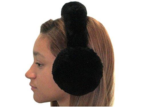 Black Sheared Beaver Ear Muffs w/Fur on Band