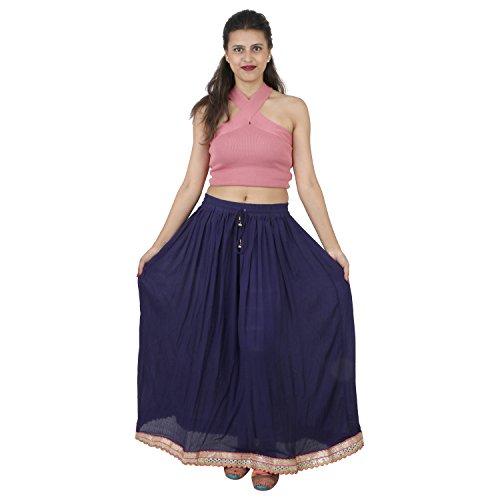 Suman Enterprises Indian Party Wear,Belly Dance Rayon Boho Skirt wd Hippie Gypsy Gota (Navy Blue) ()