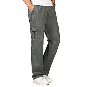 OCHENTA Men's Elastic Waist Relaxed Straight Leg Baggy Pull On Cargo Pants