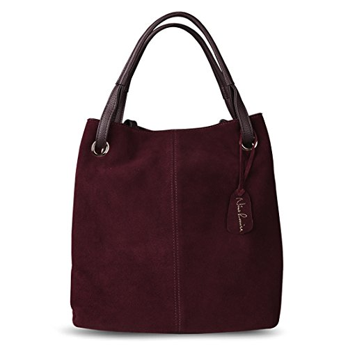 Plum Suede Leather - Nico Louise Women Real Split Suede Leather Tote Purse New Leisure Large Top-handle Bags Lady Casual Crossbody Shoulder Handbag (Dark Purple)