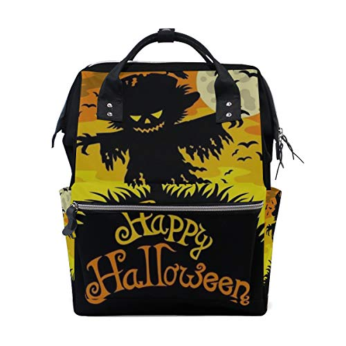 (Halloween Scared Moon Scarecrow Large Capacity Diaper Bags Mummy Backpack Multi Functions Nappy Nursing Bag Tote Handbag for Children Baby Care Travel Daily)