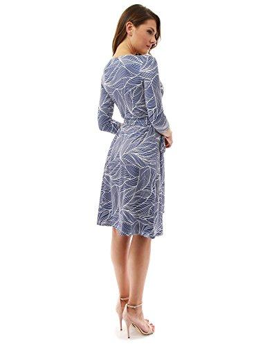 PattyBoutik DR-1229-Z03DBLPBL-XL - Vestido para mujer azul oscuro y blanco10