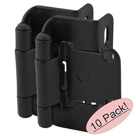 Cosmas 27550-FB Flat Black Self Closing Partial Wrap Cabinet Hinge ...