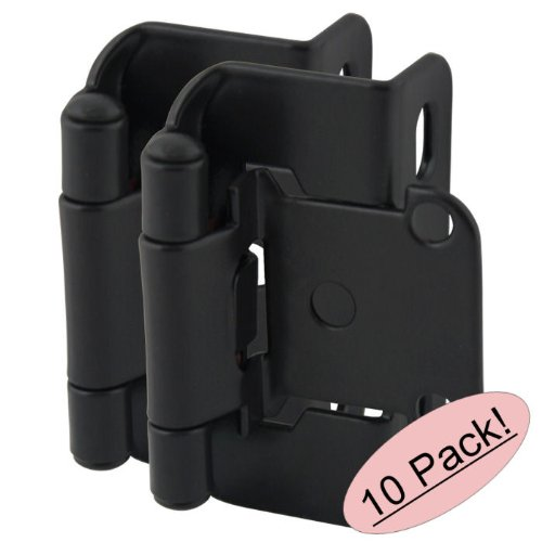 Cosmas 27550-FB Flat Black Self Closing Partial Wrap Cabinet Hinge 1/2