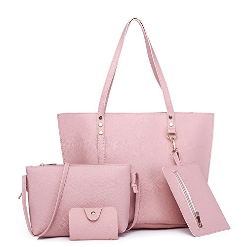 AASSDDFF Nuevo Bolso de las mujeres Bolso de mano grande de gran capacidad Bolso de hombro de moda Bolso de mujer Pu Bolso Crossbody Set,gris rosado
