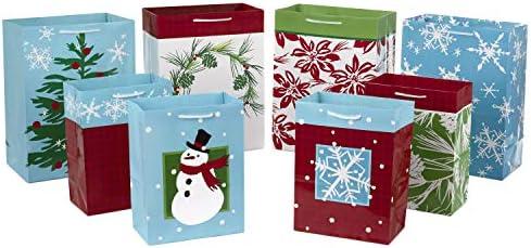 Christmas Gift Bag Large Red Reindeer Tartan Gold Foil Luxury Wrap Present Xmas