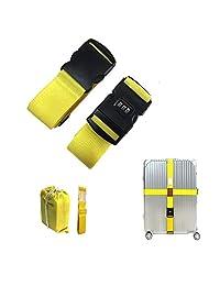 CHMETE Travel Suitcase Belts/Luggage Straps, 2pcs-Yellow