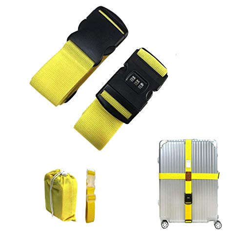 CHMETE Travel Suitcase Belts/Luggage Straps, 2pcs-yellow