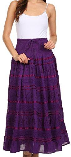 Cotton Summer Skirt (Sakkas 0604 Lace and Ribbon Peasant Boho Skirt - Purple - One Size)