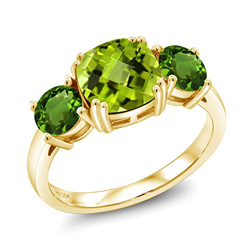 Gem Stone King 3.53 Ct Cushion Checkerboard Green Peridot Green Chrome Diopside 18K Yellow Gold Plated Silver Ring (Size ()