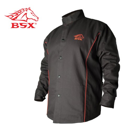 Revco BSX B9C 9oz. Black/Red Cotton Welding Jacket, Flame Resistant 3X