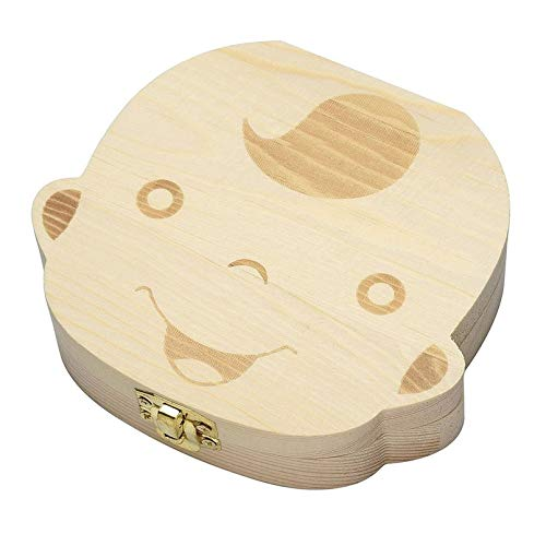 sahnah ChildrenS Baby Wooden Baby Baby Teeth Box Collection Commemorative Tooth Shape Storage Preservation
