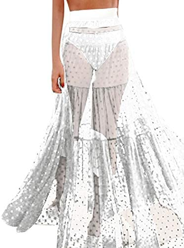 Falda de Tul para Mujer Larga de Verano, Color Transparente, Falda ...
