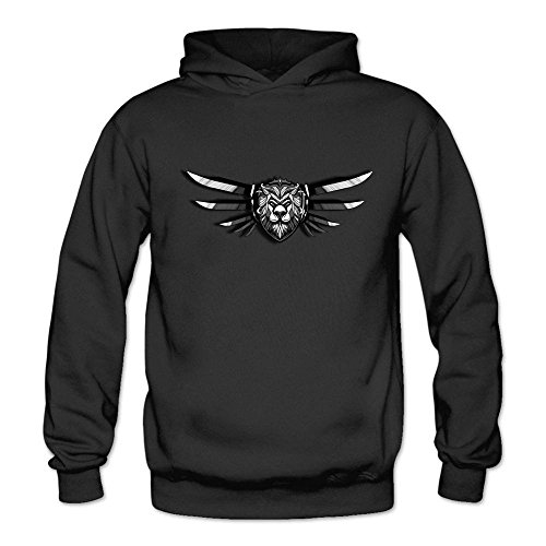 Ivantop lion logo fashion Women's Hoodie Sweatshirt Black ()