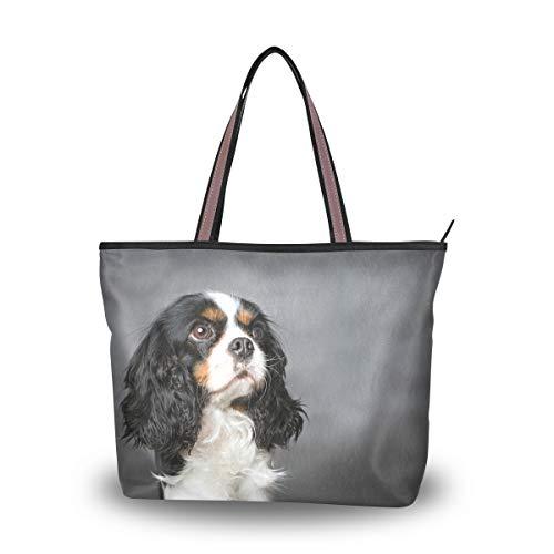- My Daily Women Tote Shoulder Bag Cavalier King Charles Spaniel Dog Handbag Large