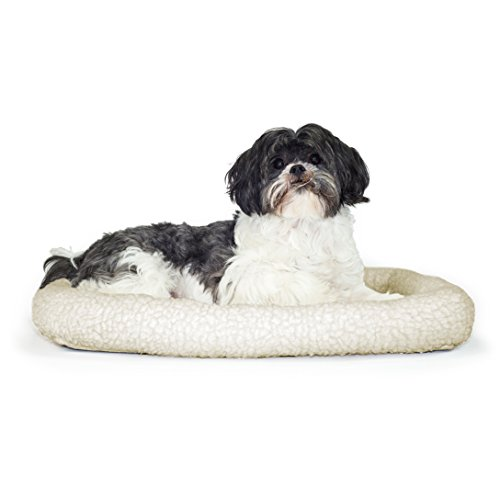 NAP Pet Bed Sherpa Faux Lambswool Bolster Pet Bed, Small Fit