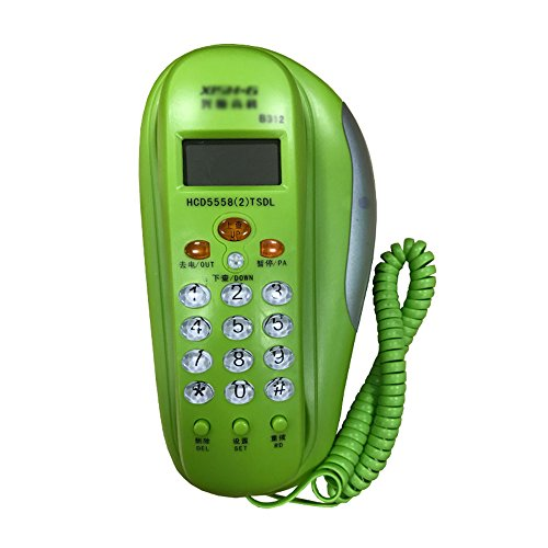 Landline telephone Home office wall-mounted corded telephone Dual-use small extension fixed telephone Caller ID (Color : Green) (Corded Telephone Green)