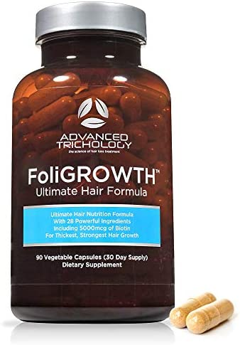 FoliGROWTH Ultimate Hair Nutraceutical Get Thicker Hair, Reverse Diffuse Thinning Guaranteed – Gluten Free, Vegetarian, 3rd Party Tested – High Potency Biotin, Hair Loss Supplement, Hair and Nails