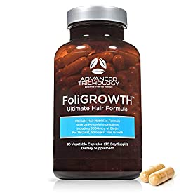 FoliGROWTH Ultimate Hair Nutraceutical – Get Thicker Hair, Reverse Diffuse Thinning Guaranteed – Gluten Free, Vegetarian, 3rd Party Tested – High Potency Biotin, Hair Loss Supplement, Hair and Nails