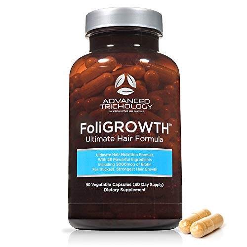 FoliGROWTH Ultimate Hair Nutraceutical - Get Thicker Hair, Reverse Diffuse Thinning Guaranteed - Gluten Free, Vegetarian, 3rd Party Tested - High Potency Biotin, Hair Loss Supplement, Hair and Nails (Best Hair Growth Formula)