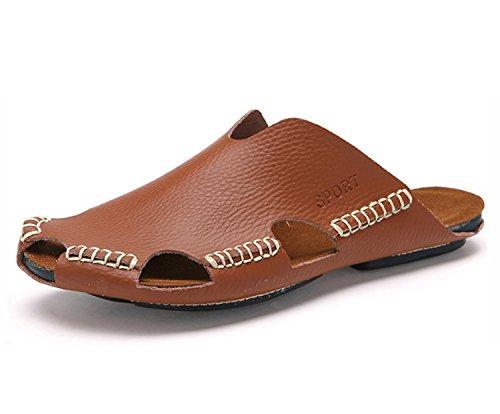 Nuevas Moda Absorbentes Durables de de Hombres Marrón Ocasionales Respirables Transpirables Sandalias los Cuero de Chanclas Sudor Confort Zapatillas aqwzxA1Yp