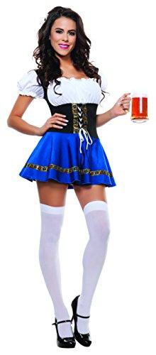 Starline Women's Sexy Beer Maiden Costume Set, Blue, Small (German Beer Maiden)