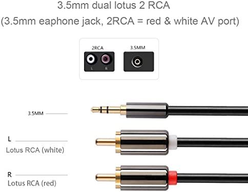 持ち運びが簡単 2メートルゴールドメッキ3.5mmのジャックに2×RCAオスステレオオーディオケーブル、小型、軽量かつ簡単に持ち運びします