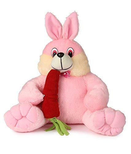 SRT Rabbit Carrot Teddy, Pink and Red 35 cm