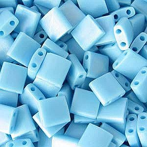 Turquoise Blue Matte Tila Beads 7.2 Gram Tube By Miyuki Are a 2 Hole Flat Square Seed Bead 5x5mm 1.9mm Thick with .8mm Holes ()