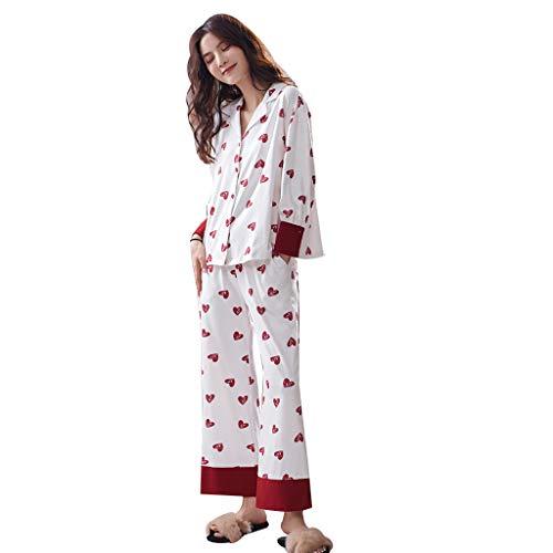 Red Ropa Y Mujer Sg Ocio De Algodón El Larga Deportiva Size Hogar Pijamas Para Otoño color Red Manga Suelta Primavera Dormir STBwxYq