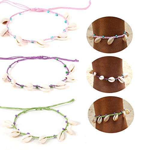 EGOO&YAMEE 3 Pack Vintage Shell Pearl Anklets Set Infinity Starfish Colors Bead Flower Beach Foot Chain ()