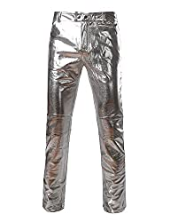 Men's Faux Leather Metallic Straight Leg Trousers