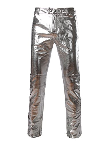 (ZEROYAA Mens PU Faux Leather Side Zipper Moto Jeans Style Metallic Silver Pants/Straight Leg Trousers US 31/Asian XL Silver)