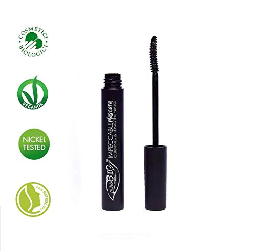 PuroBIO Certified Organic IMPECCABLE MASCARA - Curving and Lengthening, Black. ORGANIC. VEGAN. NICKEL TESTED. MADE IN ITALY