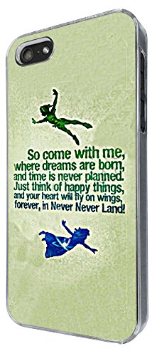 iphone 5 5S Cool Cartoon never land Quote Come With Me Design Fashion Trend Hülle Case Back Cover Metall und Kunststoff