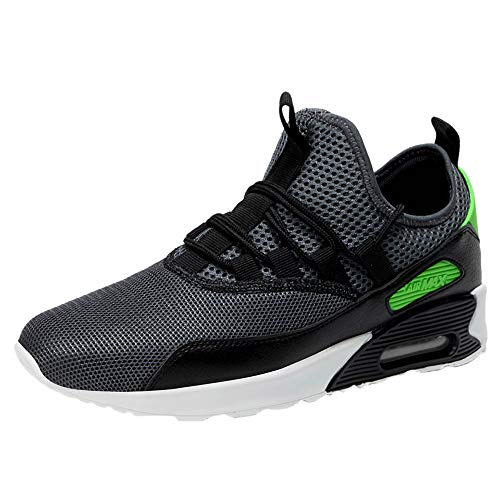 Men's Air Cushion Shoes,Male Casual Lace-up Flat Sport Running Tide Shoes Wear Resistant Mesh Breathable Sneaker