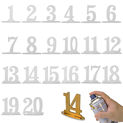 Furniture Life Wedding Table Numbers with Sturdy Holder Base for Wedding, Party, Events or Catering Decoration-20PC ()