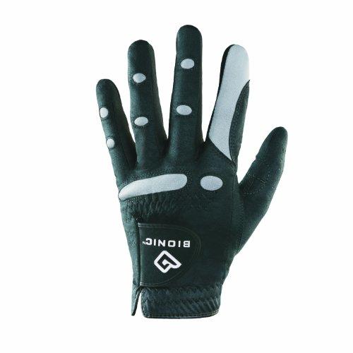 Bionic Herren Golfhandschuh linke Hand (Rechtshänder) AquaGrip schwarz schwarz M