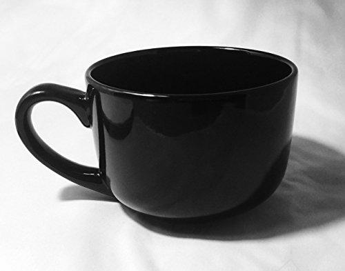 Extra Large Jumbo Latte Coffee Mug Or Soup Bowl With Handle 22 Oz - Black (Jumbo Ceramic Mug)