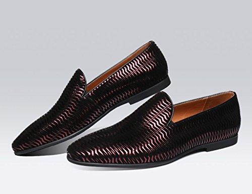HWF Scarpe Uomo in Pelle Scarpe da uomo in pelle casual stile britannico a punta moda giovane marea single Wild Shoes (Colore : Nero, dimensioni : EU 41/UK7) Rosso