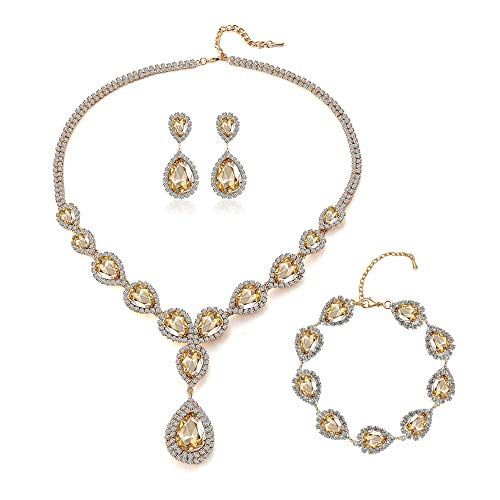 Paxuan Womens Silver/Gold Plated Teardrop White Champagne Crystal Wedding Bridal Jewelry Set Pendant Necklace Drop Dangle Earrings Set (Gold Plated Champagne Crystal Necklace + Earrings + Bracelet)