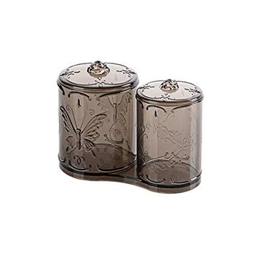 MOPOLIS Makeup Cotton Pad Storage Case Capacity Vintage Double Compartment Organizer (Color - Gray)