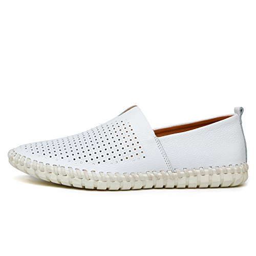 Mens Loafers Handmade Moccasins Soft Blue Men's Boat Shoe Plus Size 38~47,White Breathable,12 ()