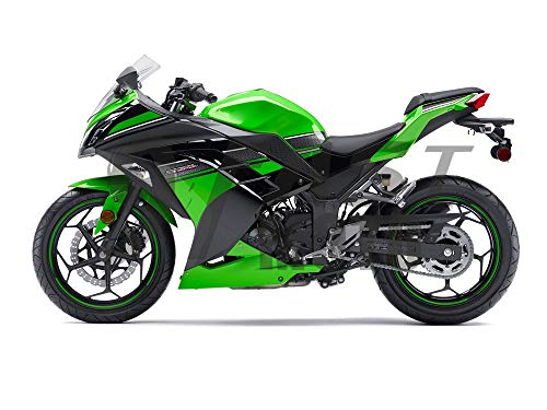 (9FastMoto Motorcycle Decals Sticker for kawasaki 2013 2014 EX300R Ninja 300 ZX300R 13 14 EX300R ZX300R Motorbike Racing Fairing Decal (Green & Black))